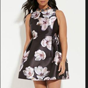 Forever 21 Plus Purple Floral A-Line Dress